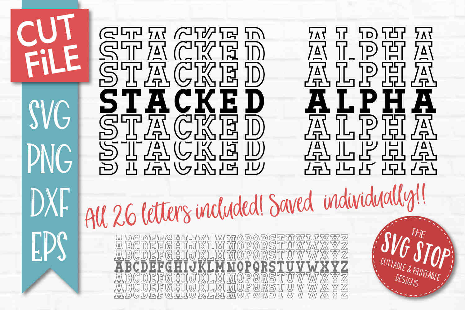 Download Stacked Sports Letters Font - Alpha Pack